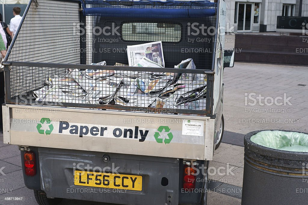 Small van for collecting old paper royalty-free stock photo