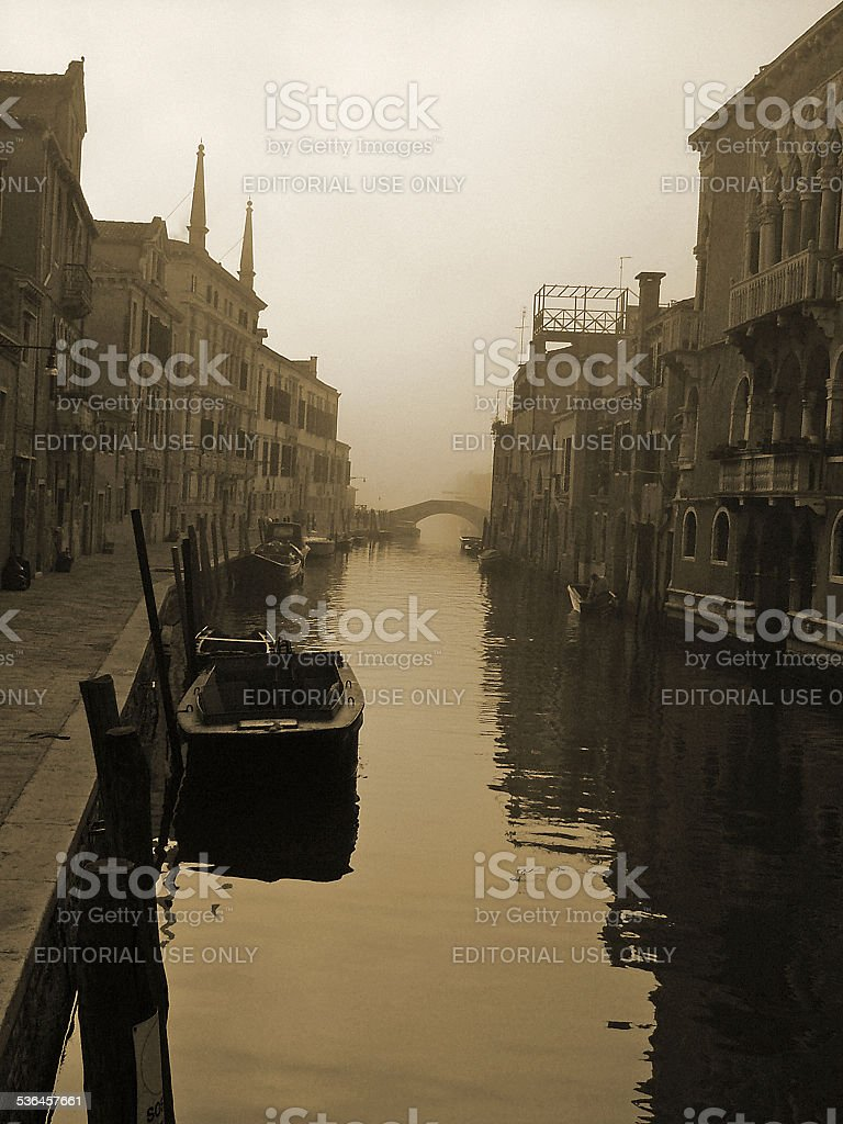 Small Venetian Canal in Sepia stock photo