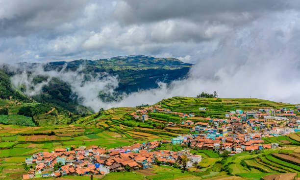Small village amidst terrace farms on hills of Kodaikanal, Tamil Nadu Small village amidst terrace farms on hills of Kodaikanal, Tamil Nadu amidst stock pictures, royalty-free photos & images