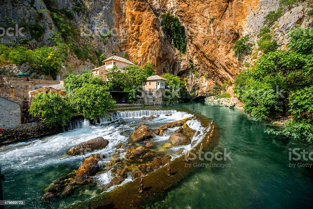 Small village Blagaj on Buna spring stock photo