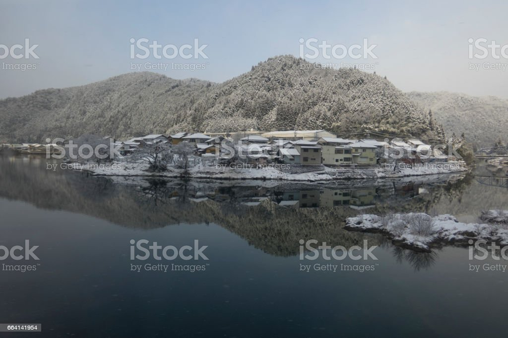 Small village covered with snow in Japan foto stock royalty-free
