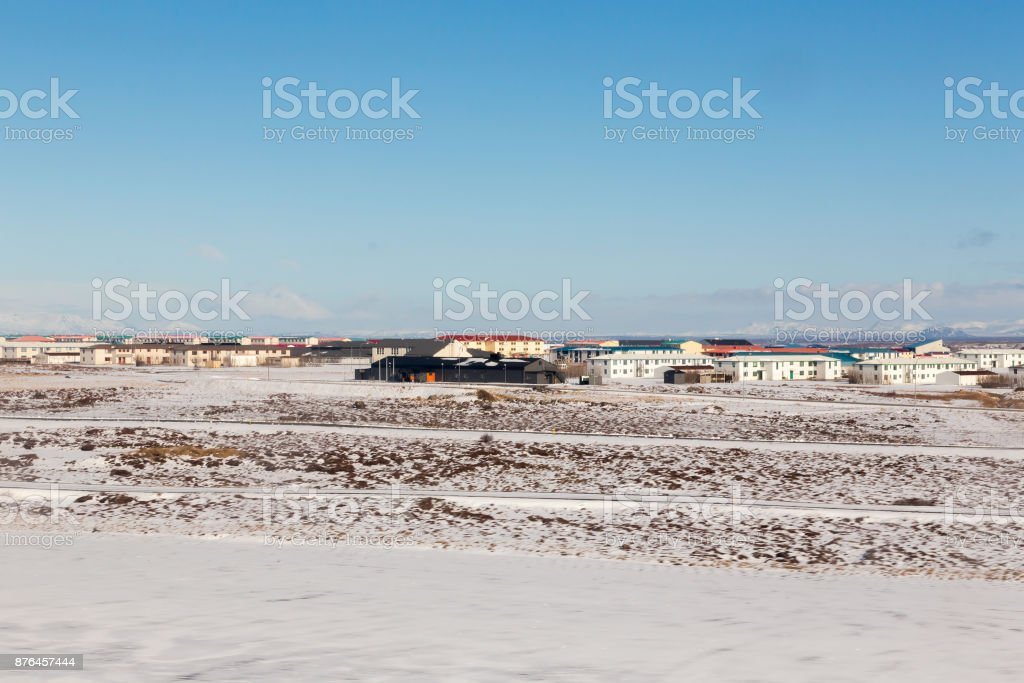 Small village in Iceland during winter season stock photo