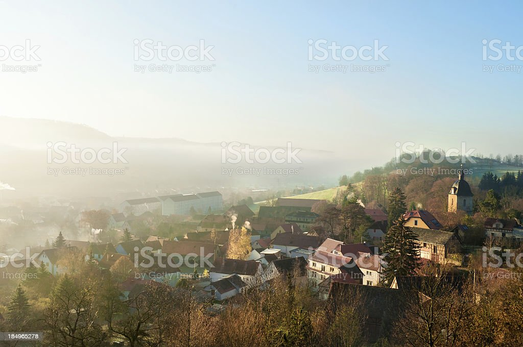 Small Village in Morning dust - Germany stock photo