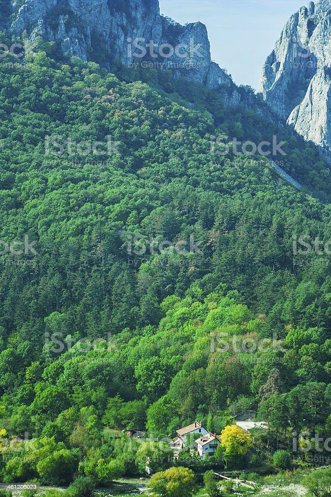 Small village in mountains of Transylvania stock photo