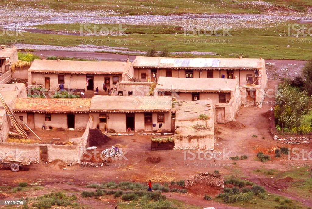 Small village in the late 1970s on the Loess Plateau Inner Mongolia China stock photo