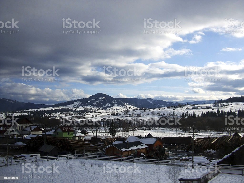 Small Village In Winter royalty-free stock photo