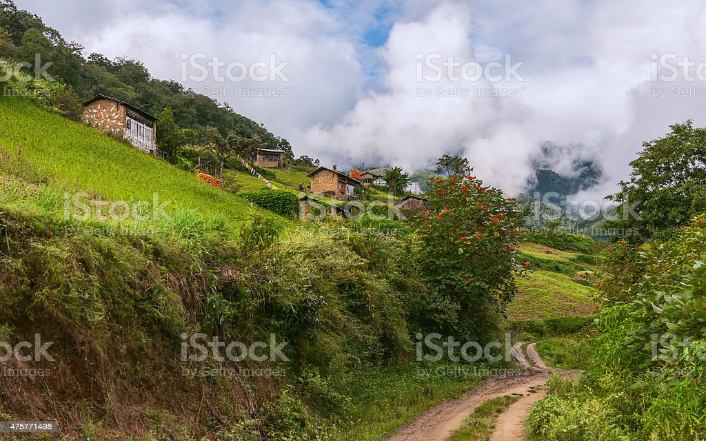 Small village of Monpa people, Dirang, Arunachal Pradesh, India. stock photo