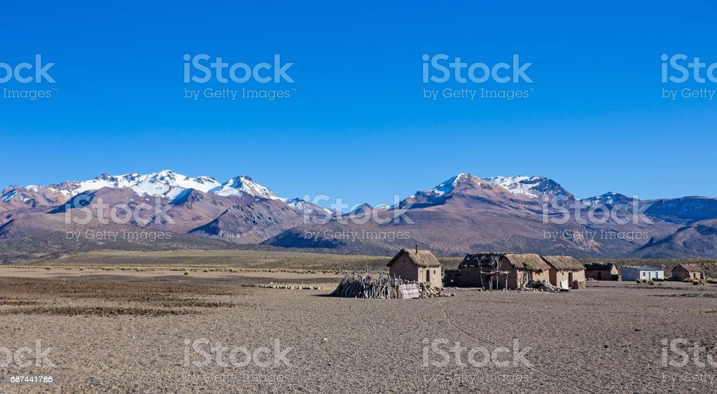 Small village of shepherds of llamas in the Andean mountains. Andean Highlands stock photo