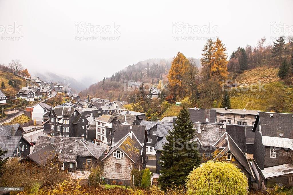 Small village of slate houses in Germany stock photo