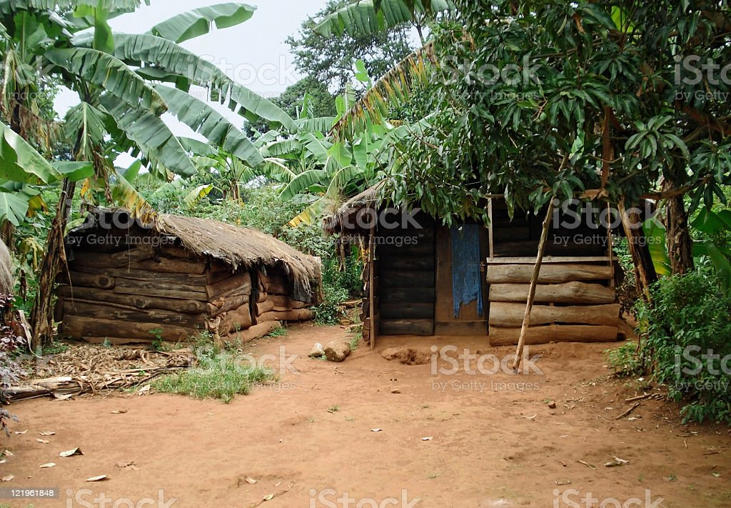 small village on a island in the Lake Victoria stock photo