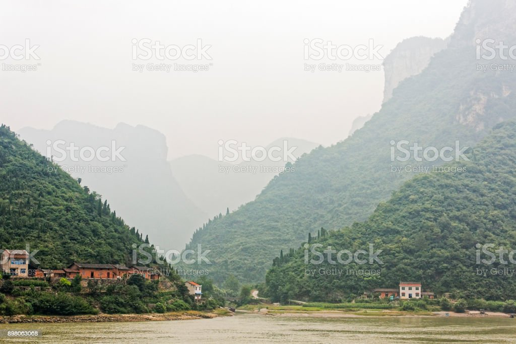 Small village on the banks of the Yangtze River. stock photo