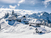 A small village on the mountain peak in Wintertime