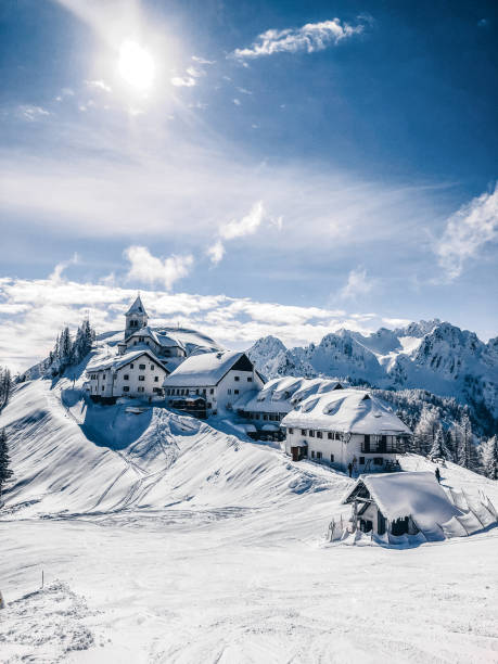 A small village on the mountain peak in Wintertime A small village on the mountain peak in Wintertime ski resort stock pictures, royalty-free photos & images