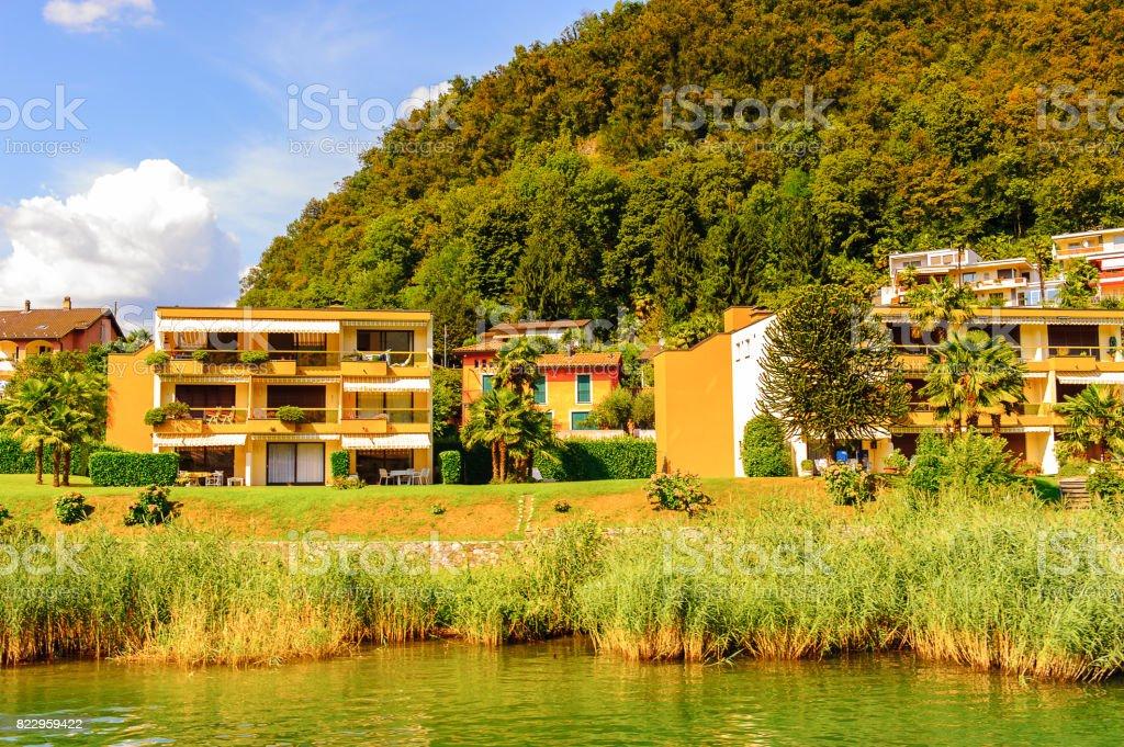 Small village over the Lake of Lugano, Switzerland stock photo