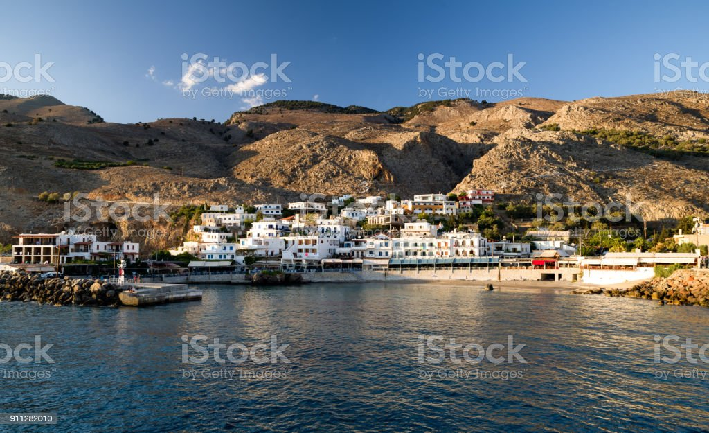 Small village Sfakia at southern coast of Crete island, Greece stock photo