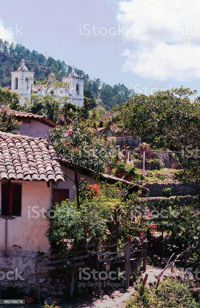 Small village trail and buildings in village of Santa Lucia near Tegucigalpa Honduras Central America stock photo