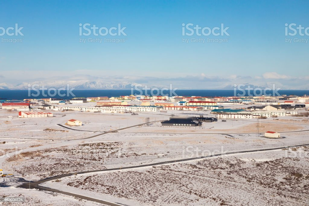 Small village with snow covered foto de stock royalty-free