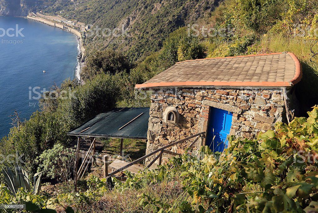 Small Vineyard House above the Sea A small stone house with a blue door is located high above the sea. Architecture Stock Photo