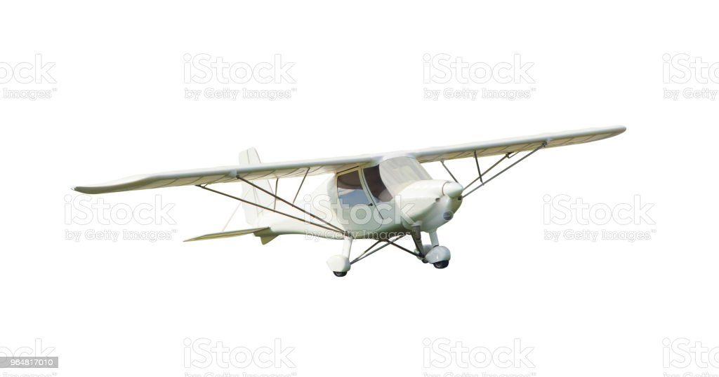 small vintage airplane isolated on white royalty-free stock photo