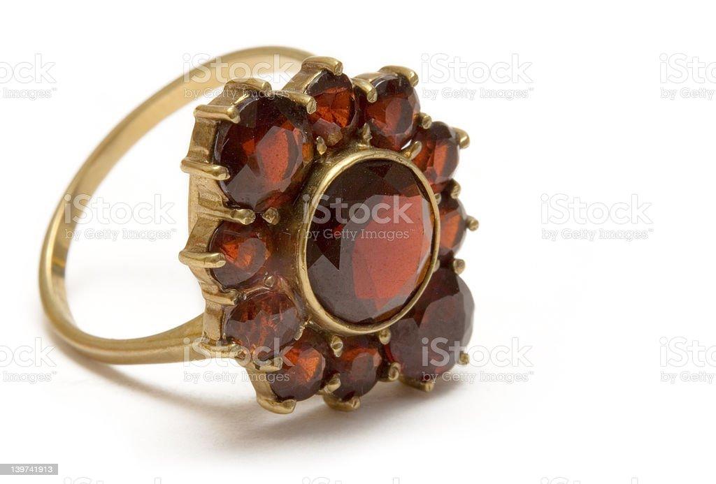 Small Vintage Garnet Ring - Macro royalty-free stock photo