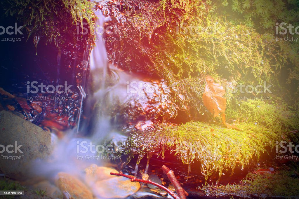 Small Water Fall with Moss Covered River Rocks in the Sunlights Colorful Rays of Light stock photo