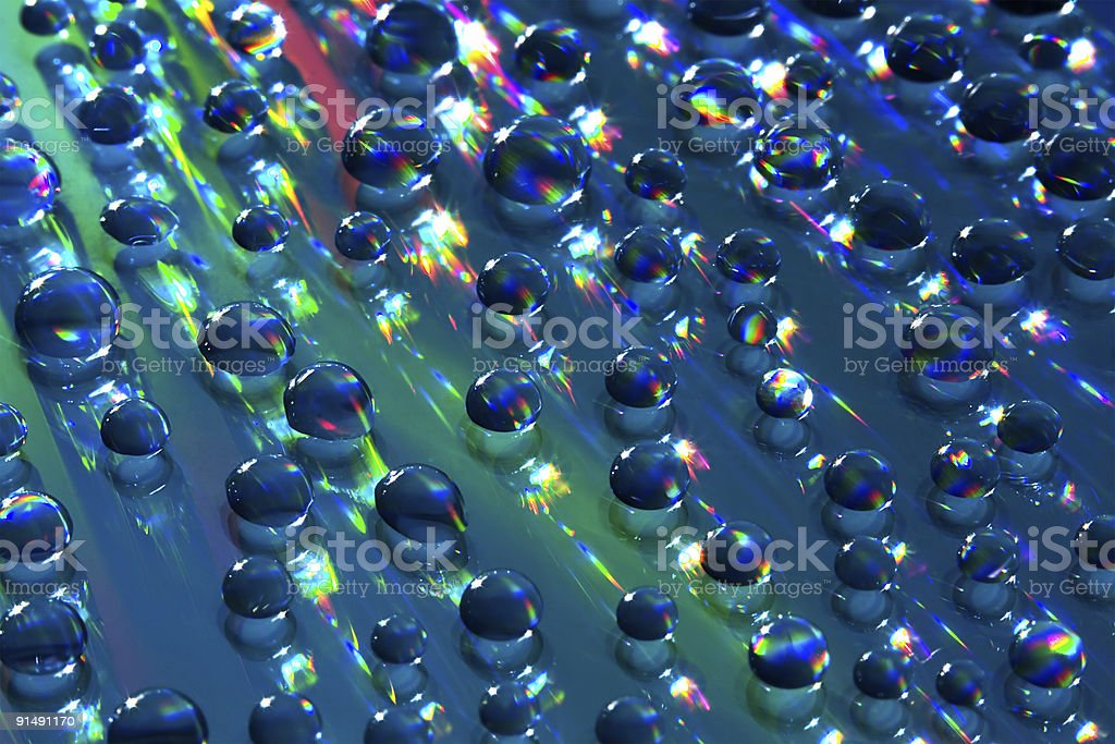 Small Water Spheres over Bright Background stock photo