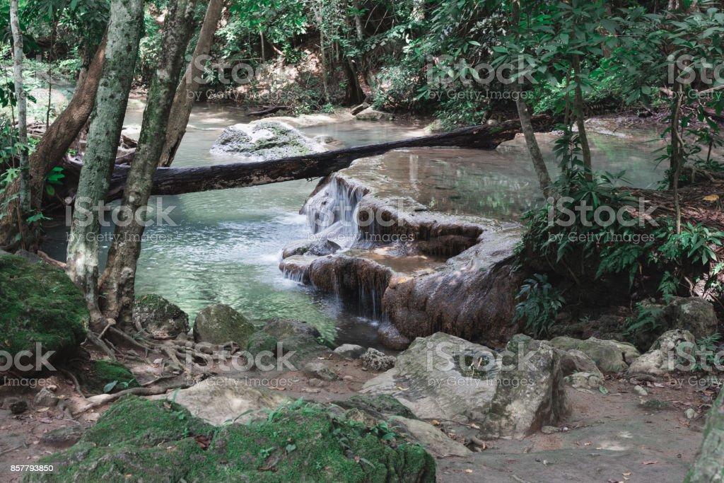 Small Waterfall Along Erawan Falls Hiking Trail stock photo