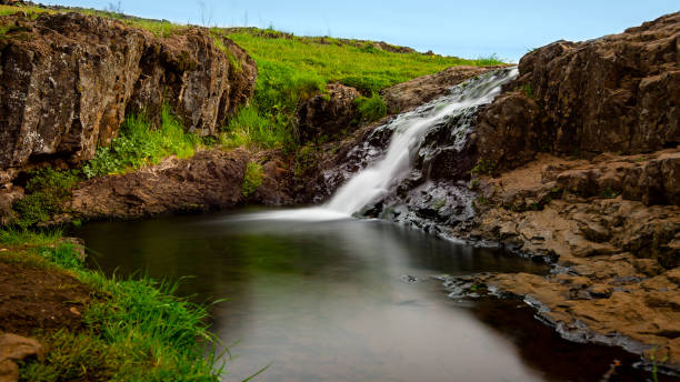 Small waterfall at North Table Mountain Ecological Preserve in Oroville stock photo