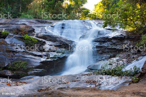 Photo of Small Waterfall Flows Down