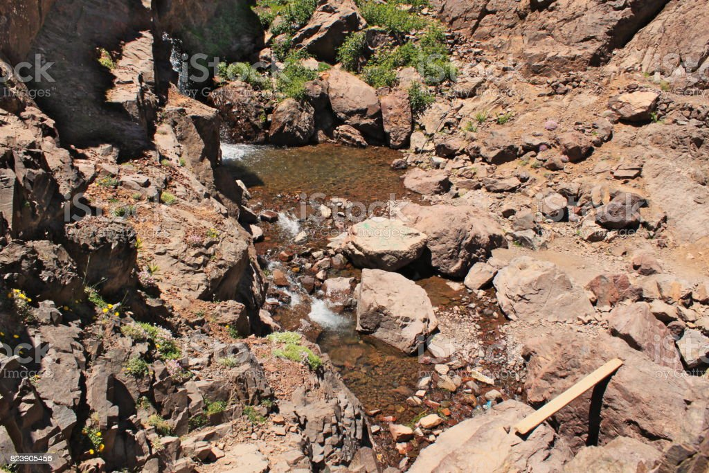 Small waterfall in Atlas mountains in Atlas Mountains stock photo