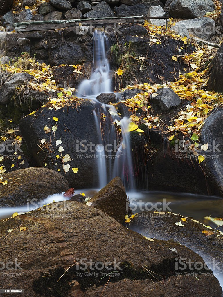 Small Waterfall in Autumn royalty-free stock photo