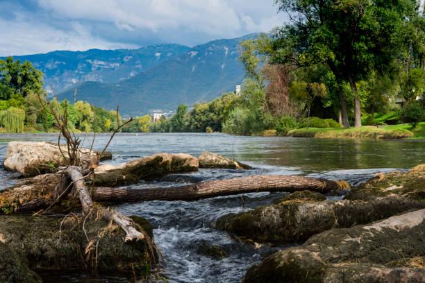 small waterfall in Bassano de Grappa, Italy - foto stock