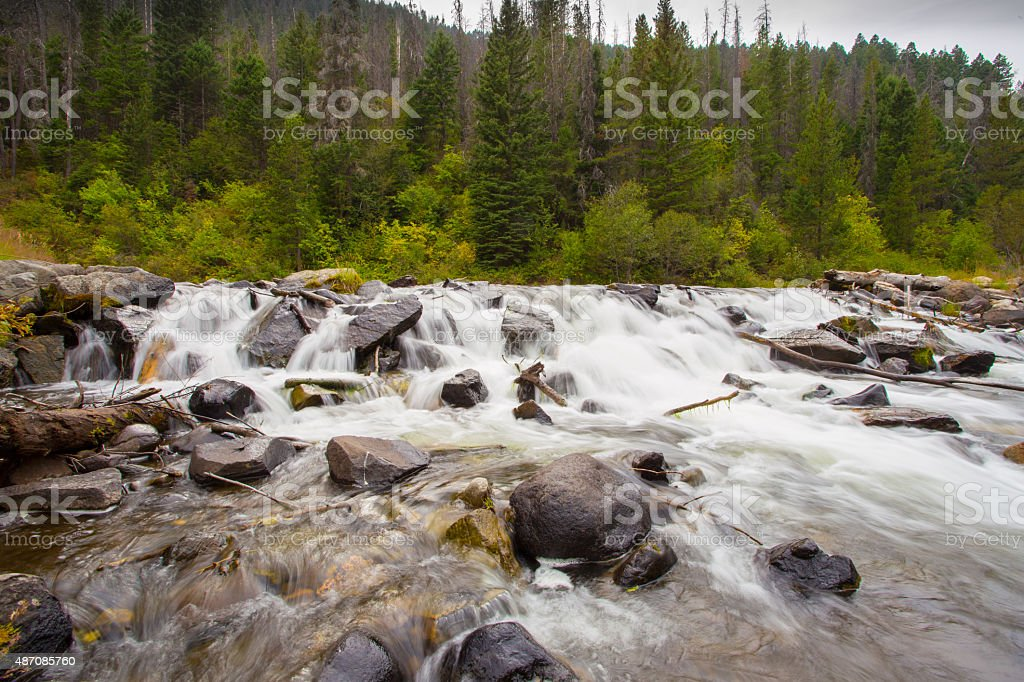 Small waterfall in Hyalite Creek. stock photo