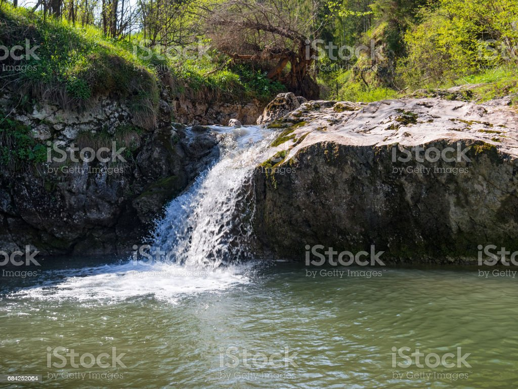 Small waterfall in Pieniny Mountains royalty-free stock photo