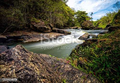 small waterfall in the forest Sao Paulo state, public.