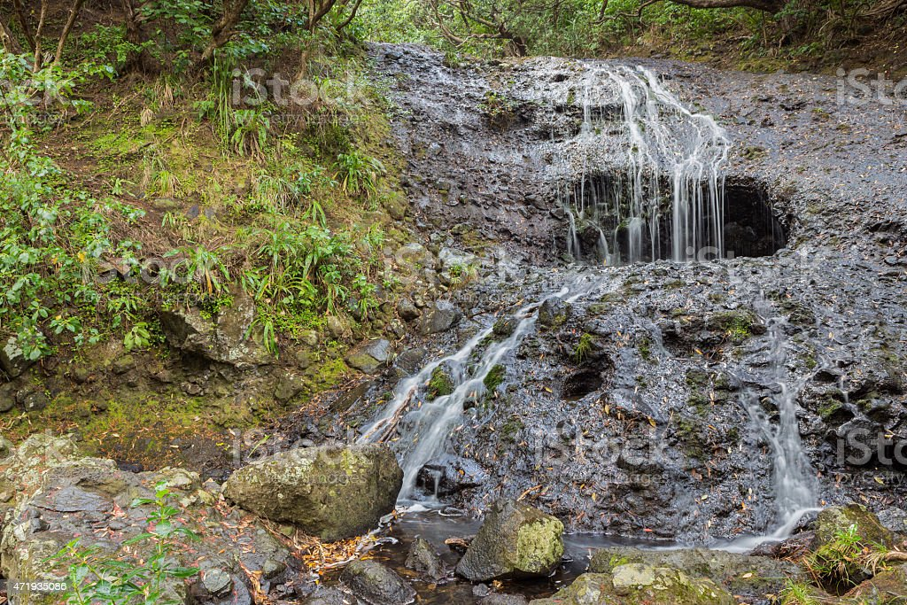 Small waterfall in the forest stock photo