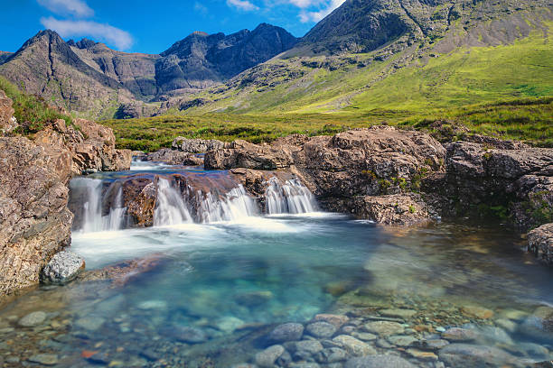 Small waterfall on the Isle of Skye A small waterfall at the fairy pools on the Isle of Skye, Scotland isle of skye stock pictures, royalty-free photos & images