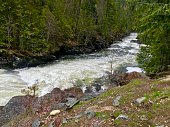 Small waterfall on the Yaak River off of Yaak River Road in Montana.