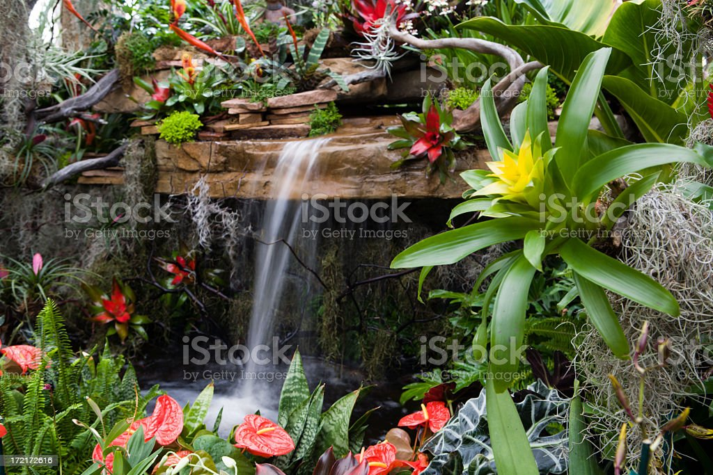 Small waterfall surrounded by red and yellow flowers royalty-free stock photo