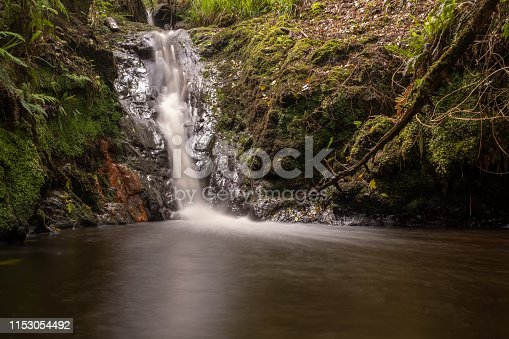 A small waterfall surrounded by rocks and green moss in the middle of a forest in Ireland, long exposure to blur the movement of the water, nobody in the image