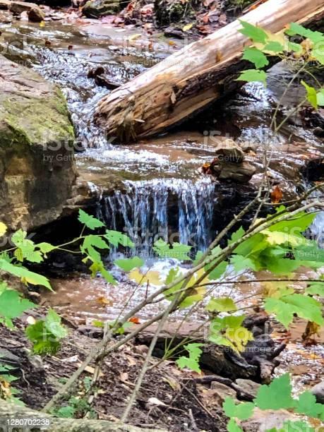 Photo of Small waterfall trickling down rocks in Michigan