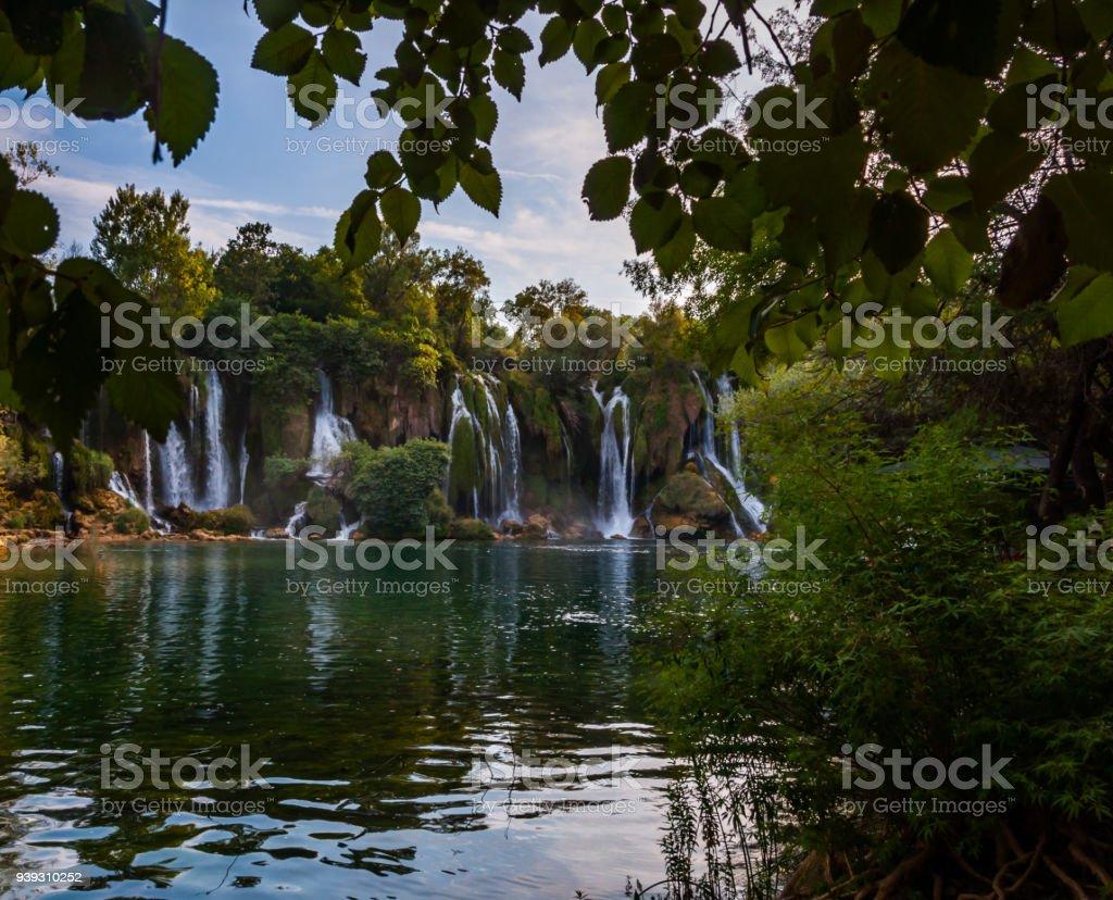 Small waterfalls Kravice stock photo