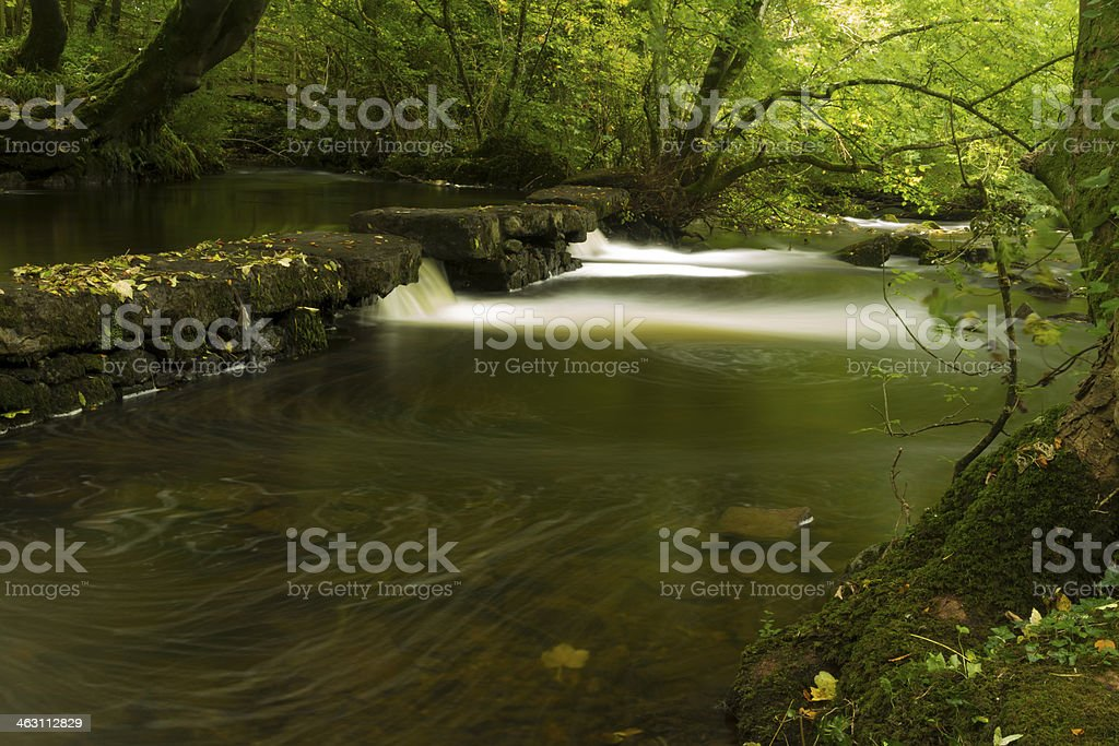 Small waterfalls, The Dingle Nature Reserve Llangefni. Long expo stock photo
