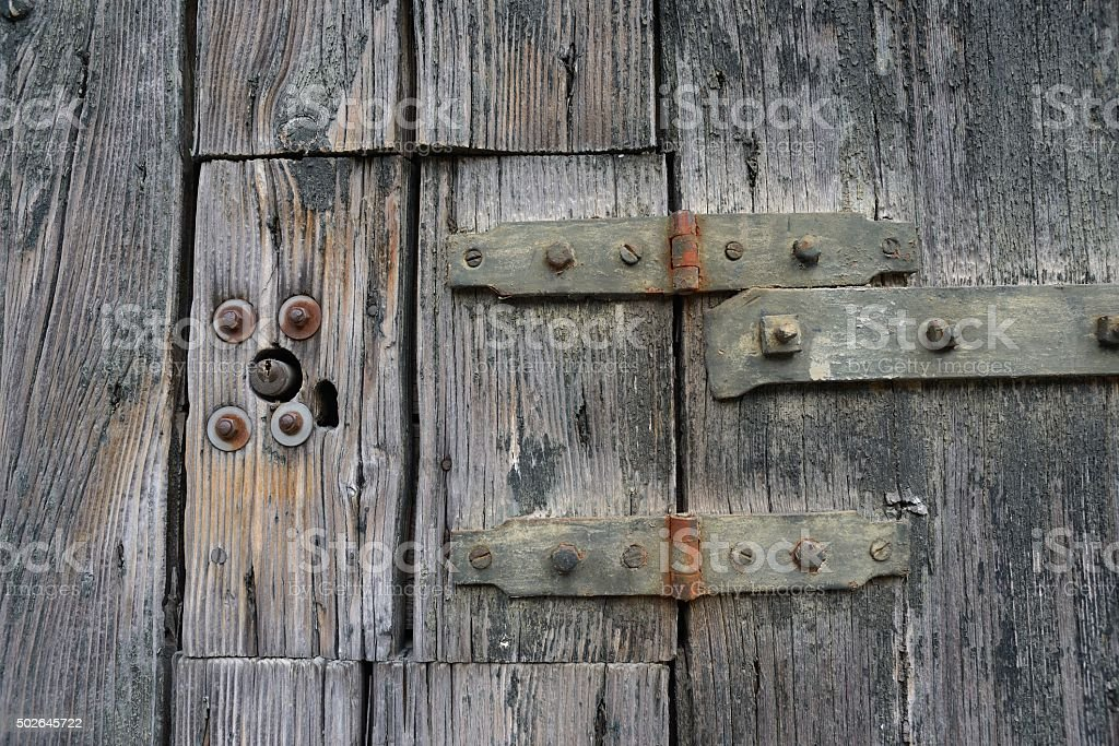 Small Weathered Wooden Hatch Stock Photo - Download Image