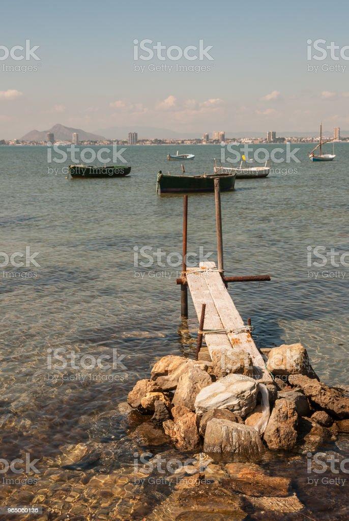 Small wharf in the Mar Menor of Murcia. Spain royalty-free stock photo