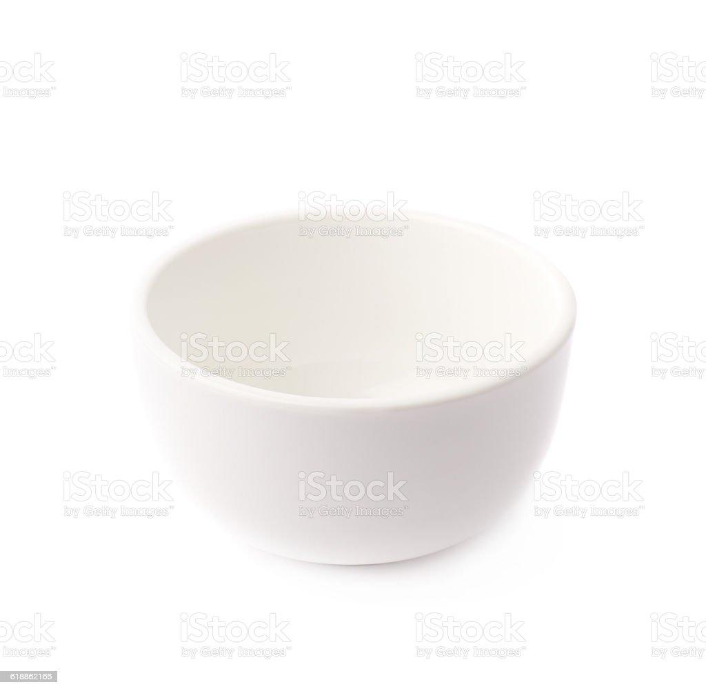 Small white ceramic bowl isolated stock photo
