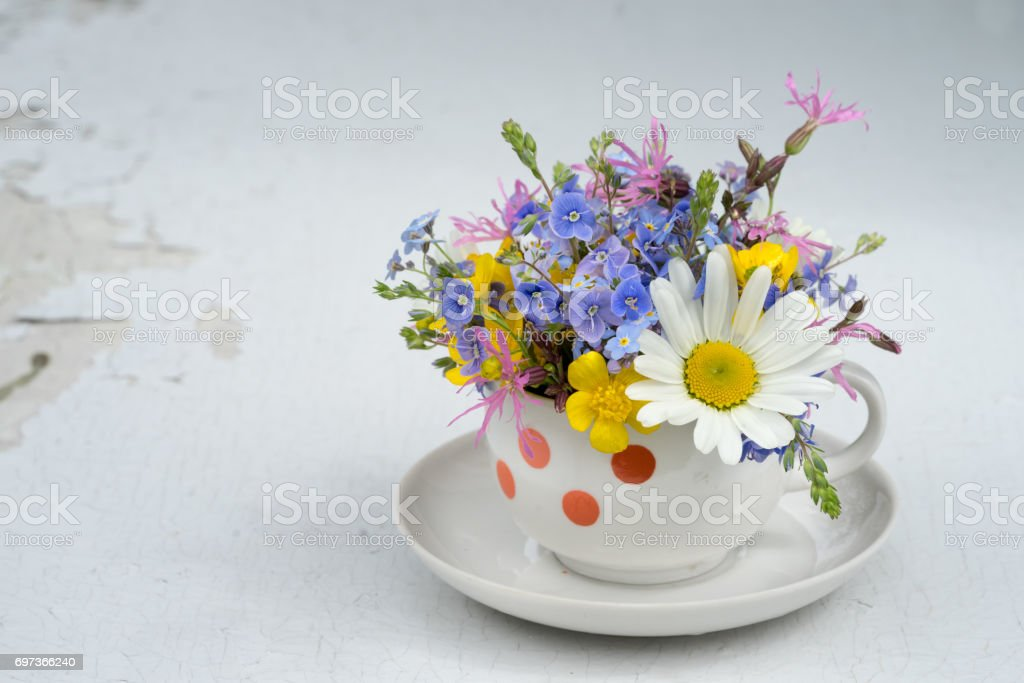 Small white coffee tea cup with red dots asa vase for wild flowers small white coffee tea cup with red dots asa vase for wild flowers bouquet fro mightylinksfo