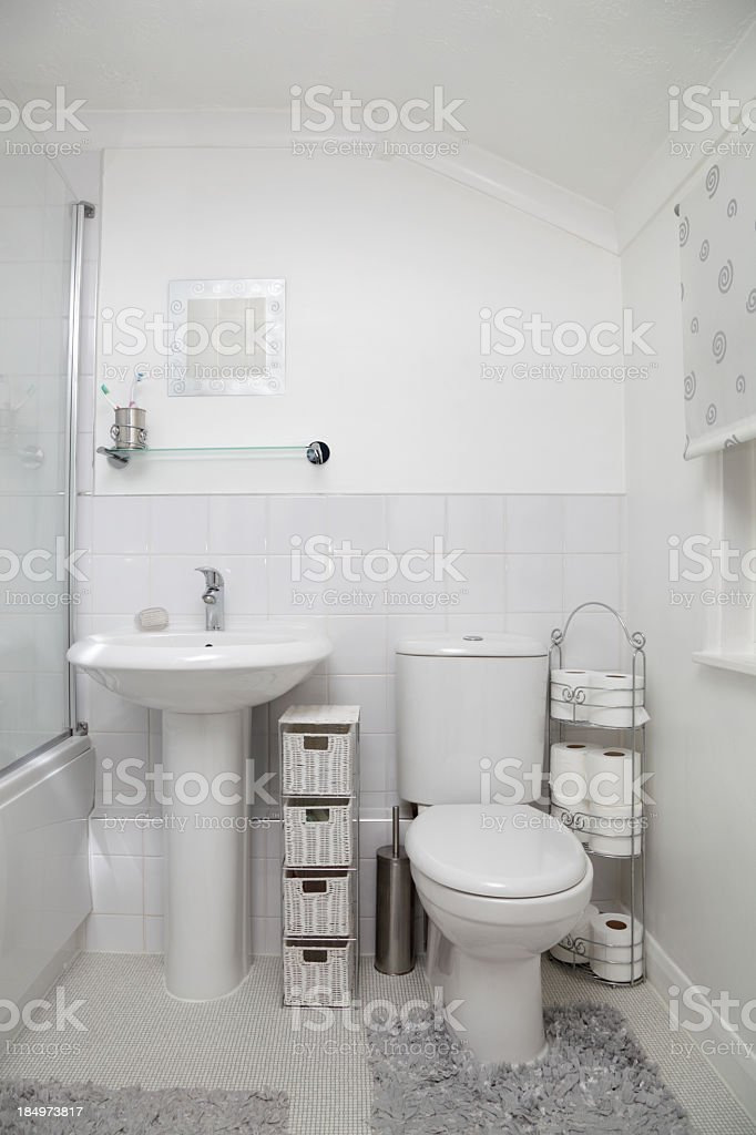 small white modern bathroom with tiles royalty-free stock photo