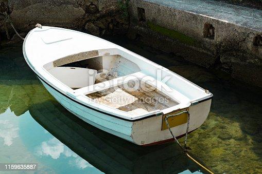white boat in the harbour of Icici, Adriatic Sea, Croatia