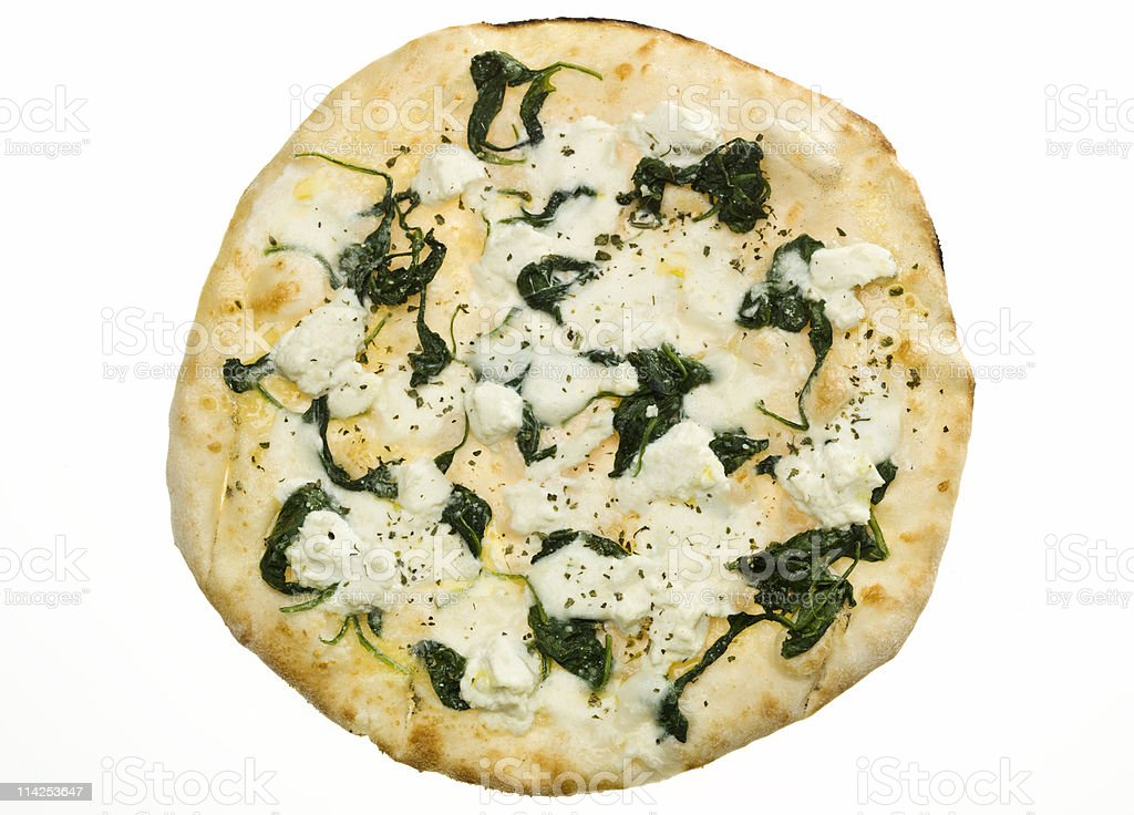 Small white pizza with organic spinach and ricotta cheese stock photo